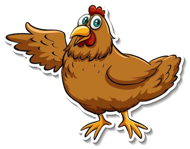 Un autocollant animal mignon de bande dessinée de poulet