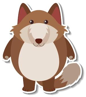 Un autocollant animal mignon de bande dessinée de renard potelé