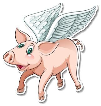 Un autocollant animal mignon de dessin animé de cochon volant