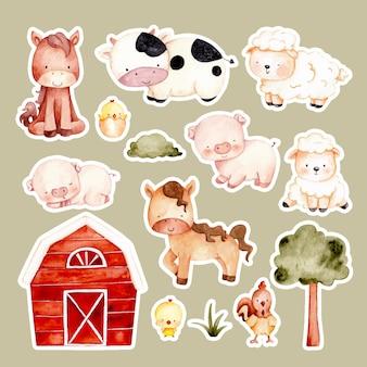 Autocollant d'animaux de ferme dessinés à la main aquarelle