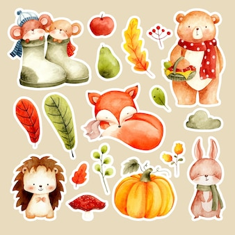 Autocollant aquarelle animal mignon et feuilles d'automne