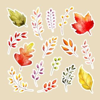Autocollant aquarelle feuilles d'automne