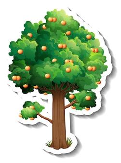 Autocollant arbre orange sur fond blanc