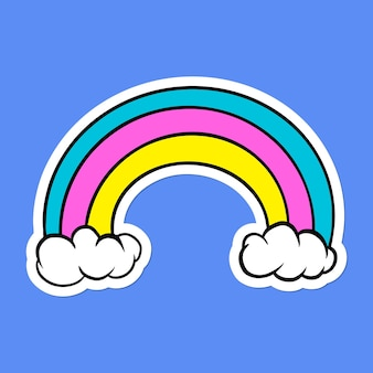 Autocollant arc-en-ciel mignon avec une bordure blanche sur fond bleu