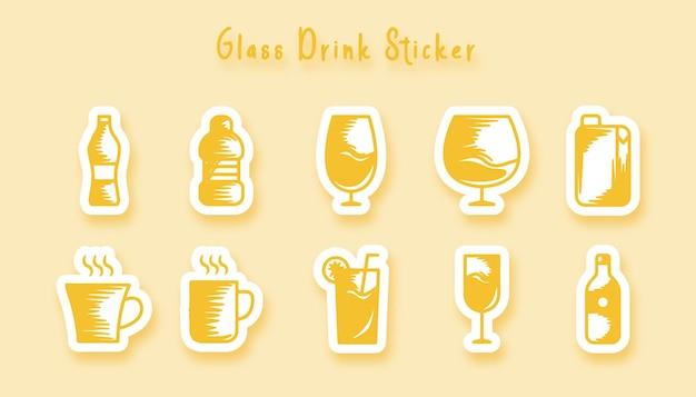 Autocollant d'art de griffonnage de boisson en verre