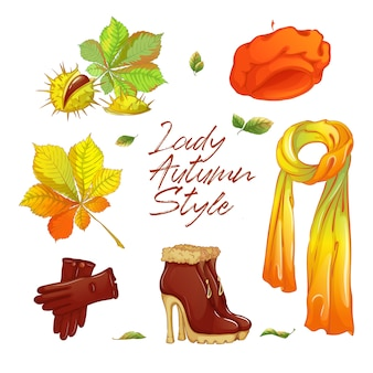 Autocollant d'automne pour dame à la mode