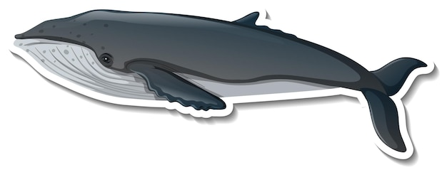 Autocollant de bande dessinée d'animal de mer de baleine