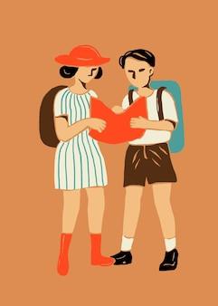 Autocollant de bande dessinée de touristes dans le thème de voyage