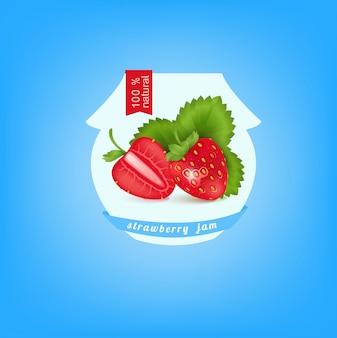 Autocollant de banque avec confiture de fraises