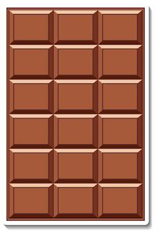 Autocollant barre de chocolat isolé sur fond blanc