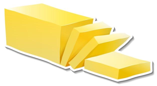 Autocollant de beurre en tranches sur fond blanc
