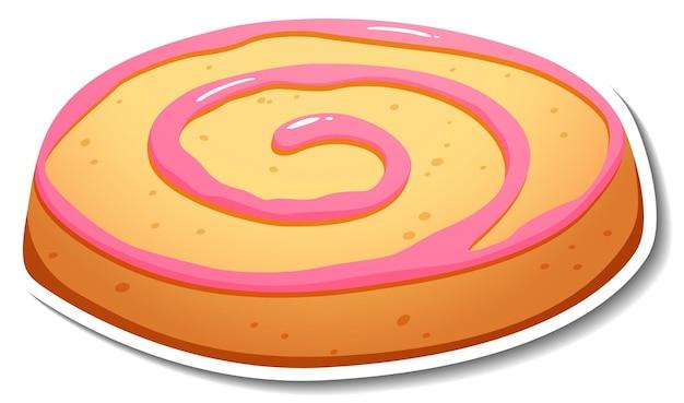 Autocollant biscuit fraise sur fond blanc