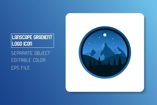 Autocollant bleu paysage paysage nuit dégradé logo icône
