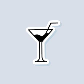 Autocollant de boisson et de champagne, logo, icône. vecteur. cocktails alcoolisés. icône de cocktail. vecteur sur fond isolé. eps 10