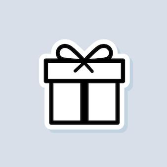 Autocollant de boîte-cadeau. concept de fête et de célébration. articles surprise et anniversaire, cadeau, cadeau, ruban, petites et grandes boîtes. vecteur sur fond isolé. eps 10.