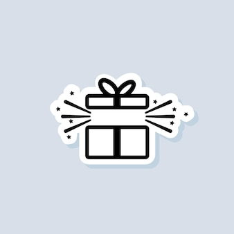 Autocollant de boîte-cadeau. concept de fête et de célébration. icône de boîte-cadeau. articles de surprise et d'anniversaire, cadeau, cadeau, ruban. vecteur sur fond isolé. eps 10.
