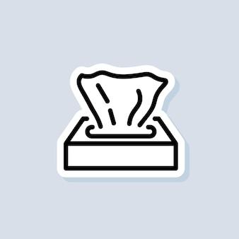 Autocollant de boîte de papier de soie. icône de serviette. icônes de lingettes. vecteur sur fond isolé. eps 10.