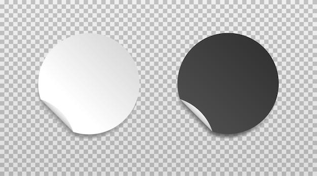 Autocollant de bord plié rond blanc et noir modèles d'étiquettes de prix en papier vides avec coin de pelage