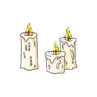 Autocollant de bougies dessinées à la main isolé doodles colorés