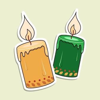Autocollant de bougies de vecteur. deux bougies brûlées avec des feuilles et des points.