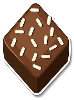 Autocollant brownie au chocolat isolé sur fond blanc