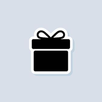 Autocollant cadeau. icône de boîte-cadeau. présent pour anniversaire, anniversaire, noël, nouvel an. vecteur sur fond isolé. eps 10.