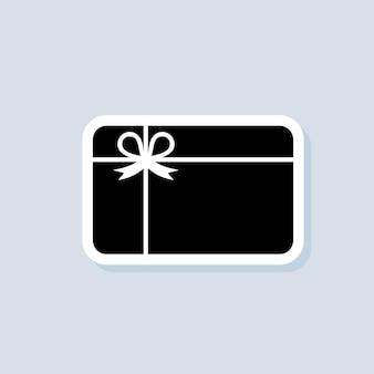 Autocollant de carte-cadeau. symbole de conception de logo noir. vecteur sur fond isolé. eps 10.