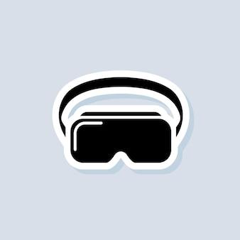 Autocollant casque vr. appareil de réalité virtuelle, lunettes. vecteur sur fond isolé. eps 10.