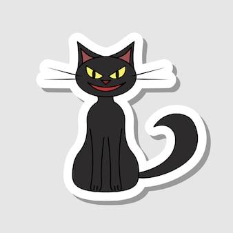 Autocollant de chat noir vector cartoon caractère halloween pour la décoration