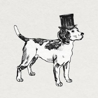 Autocollant de chien beagle vintage avec chapeau haut de forme