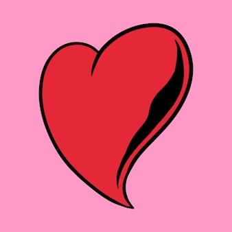 Autocollant coeur rouge sur un vecteur de fond rose