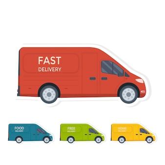 Autocollant de concept de service de livraison d'illustration vectorielle de style plat. camion avec conteneur box isolé sur fond blanc, livraison gratuite en magasin. conception conceptuelle plate de vecteur.