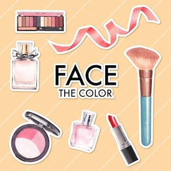 Autocollant avec conception de concept de maquillage pour la publicité et le marketing aquarelle.
