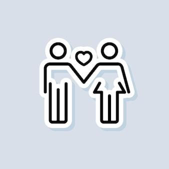 Autocollant couple amoureux. logo de l'amour. concept de l'amour et de la saint-valentin. vecteur sur fond isolé. eps 10.