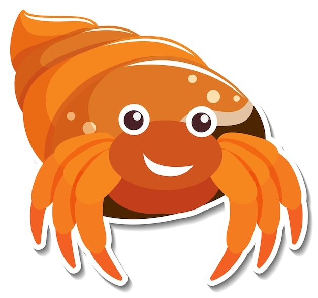 Autocollant de dessin animé d'animal de mer de crabe ermite