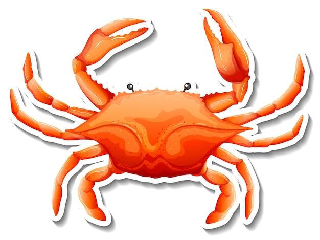 Autocollant de dessin animé d'animal de mer de crabe