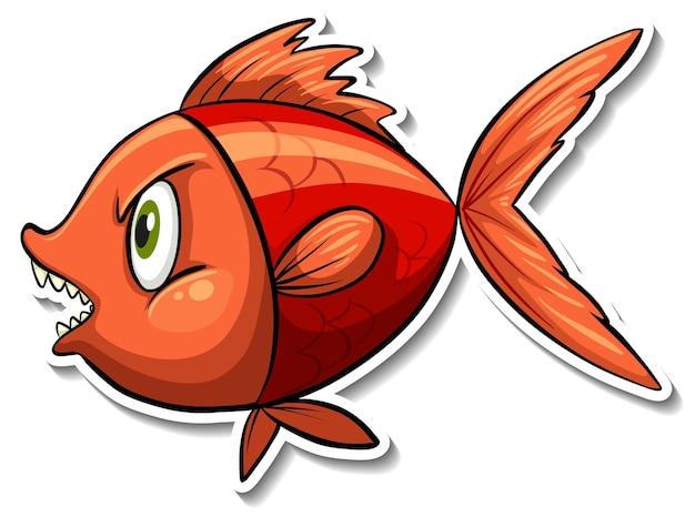 Autocollant de dessin animé d'animal de mer de poisson en colère
