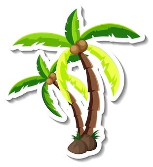 Autocollant de dessin animé de cocotier