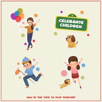 Autocollant de dessin animé avec la conception de la journée des enfants