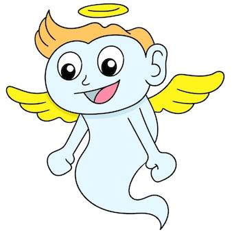 Autocollant de dessin animé de l'esprit d'un garçon volant avec des ailes, dessin de griffonnage mignon de caractère. illustration vectorielle