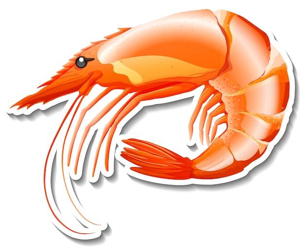 Autocollant de dessin animé de fruits de mer de crevettes sur fond blanc