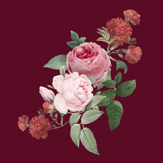 Autocollant dessiné main vintage bouquet de fleurs roses rouges