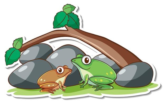 Autocollant deux grenouilles avec des éléments de la nature