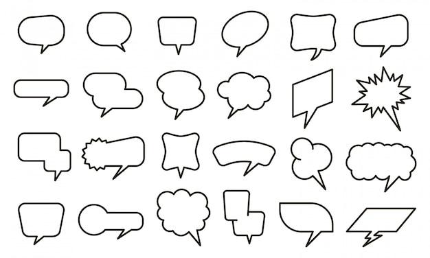 Autocollant de discours de bulle. ballons de pensée vides et autocollants de bulle de texte, ensemble d'éléments de conversation de croquis. icônes de chat et de bande dessinée sur fond blanc. nuages de dialogue