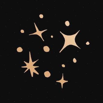 Autocollant doodle espace or étoiles