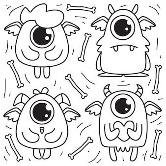 Autocollant de doodle de monstre de dessin animé dessiné à la main