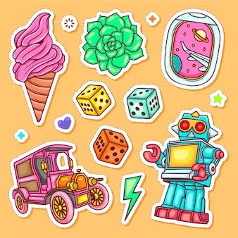 Autocollant doodle vecteur de coloriage dessiné à la main