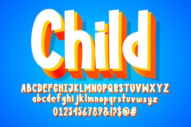 Autocollant enfant, alphabet de dessin animé 3d