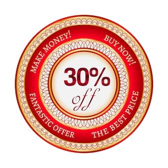 Autocollant ou étiquette rond rouge et or sur 30 pour cent de réduction