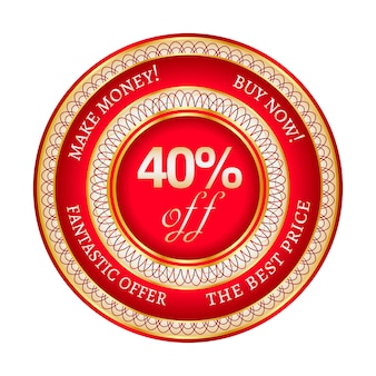 Autocollant ou étiquette rond rouge et or sur 40 pour cent de réduction